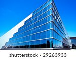 Modern blue office building corner - stock photo