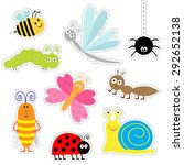cute cartoon insect sticker set.... | Shutterstock .eps vector #292652138