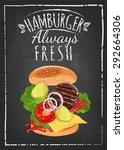 breakfast poster hamburger on... | Shutterstock .eps vector #292664306