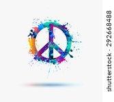 vector peace symbol in... | Shutterstock .eps vector #292668488