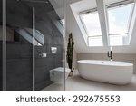 Shower cubicle and bathtub in elegant bathroom - stock photo