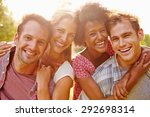 two happy couples embracing and ... | Shutterstock . vector #292698314