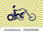 motorcycle rider. custom... | Shutterstock .eps vector #292698380