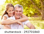 senior man embraced by his...   Shutterstock . vector #292701860