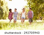 four friends walking together... | Shutterstock . vector #292705943