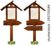 wooden directional signs with...