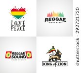 Set of reggae music vector design. Love and peace concept. Judah lion with a rastafari flag. King of Zion logo illustration.