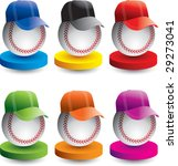 Baseballs With Hats On Colored...