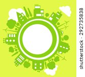 vector eco concept of green town | Shutterstock .eps vector #292735838