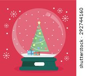 christmas snow globe with a... | Shutterstock .eps vector #292744160