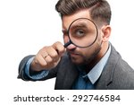 man in a jacket with magnifying ... | Shutterstock . vector #292746584