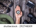 Hand With Compass And Traveler...