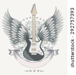 vector winged guitar emblem | Shutterstock .eps vector #292757393