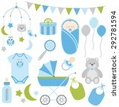 baby boy set | Shutterstock .eps vector #292781594