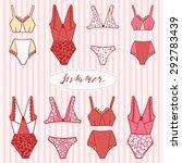 swimsuit set. vintage vector... | Shutterstock .eps vector #292783439