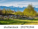 landscape with the wooden fence ... | Shutterstock . vector #292791944