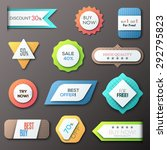 set of 12 creative paper badges.... | Shutterstock .eps vector #292795823