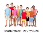 little kids with beach clothes... | Shutterstock . vector #292798028
