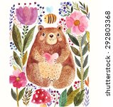 Stock vector vector illustration adorable bear in watercolor technique beautiful card with cute little bear 292803368