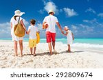 back view of a happy family... | Shutterstock . vector #292809674