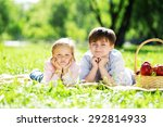 sister and brother in the park... | Shutterstock . vector #292814933