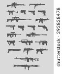 set of weapons. silhouette....   Shutterstock .eps vector #292828478