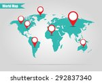 earth marked on the map... | Shutterstock . vector #292837340