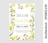 vector watercolor save the date ... | Shutterstock .eps vector #292841150