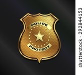 gold police badge isolated on... | Shutterstock .eps vector #292844153