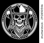 cowboy skull hold guns | Shutterstock .eps vector #292850546