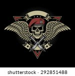 military skull with wings and...