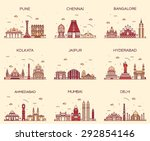 set of indian cities skylines.... | Shutterstock .eps vector #292854146