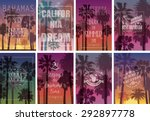set of exotic print with palms... | Shutterstock .eps vector #292897778