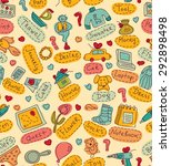 seamless pattern with gift... | Shutterstock . vector #292898498