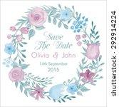 watercolor vector wreath with... | Shutterstock .eps vector #292914224