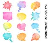 Watercolor Speech Bubbles Set