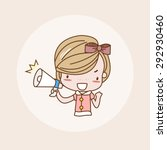 shouting with megaphone girl  ... | Shutterstock .eps vector #292930460