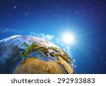 rising sun over the earth and... | Shutterstock . vector #292933883