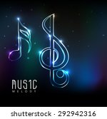 musical notes made by neon... | Shutterstock .eps vector #292942316