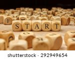 start word written on wood block | Shutterstock . vector #292949654