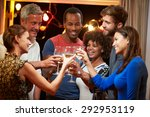 group of adult friends at party ...   Shutterstock . vector #292953119