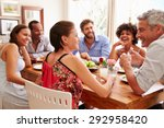 friends sitting at a table... | Shutterstock . vector #292958420