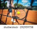 tennis player playing a match | Shutterstock . vector #292959758