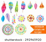 watercolor feather and pattern... | Shutterstock .eps vector #292965920