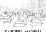 traffic jam of cars on the main ... | Shutterstock .eps vector #292968353