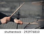 Hands With Drum Sticks And Drum