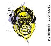 monkey with headphones | Shutterstock .eps vector #292983050
