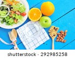 fresh salad and fruits with...   Shutterstock . vector #292985258