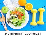 fresh salad and fruits with...   Shutterstock . vector #292985264