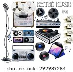 musical devices of 60 s  70 s ... | Shutterstock .eps vector #292989284